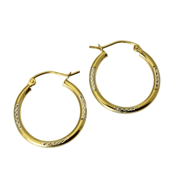 14K Real 2 Tone Yellow White Gold 1.5mm Thickness Diamond Cut Tube Hoop Earrings