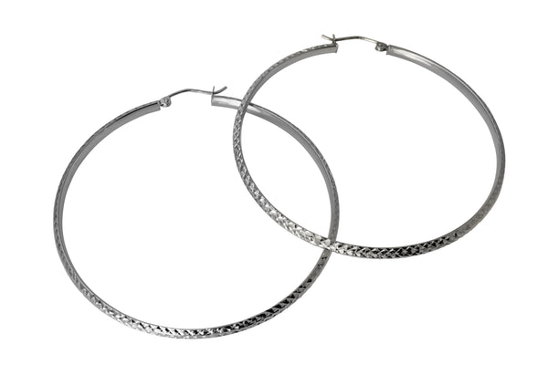 "14K Real White Gold 3mm Thickness Diamond Cut Fancy Large Hinged Hoop Earrings 53 mm ( 2 1/16"" )"