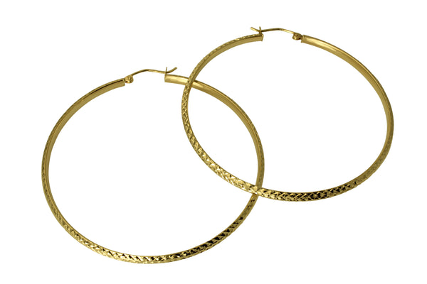 14K Real Yellow Gold 3mm Thickness Diamond Cut Large High Polished Fancy Cut Hoop Earrings