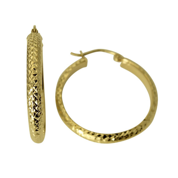 14K Real Yellow Gold 3.5mm Thickness Diamond Cut Polished Fancy Cut Hoop Earrings
