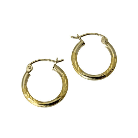 14K Real 2 Tone Yellow White Gold 2mm Thickness Diamond Cut Tube Satin Polished Hinged Hoop Earrings