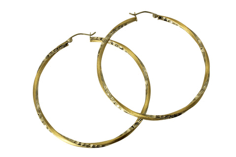 "14K Real 2 Tone Yellow White Gold 2.5mm Thickness Diamond Cut Satin Hinged Hoop Earrings 53 mm?? ( 2 1/16"" )"