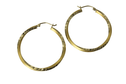 "14K Real 2 Tone Yellow White Gold 2.5mm Thickness Diamond Cut Satin Hinged Hoop Earrings 33 mm?? ( 1 5/16"" )"