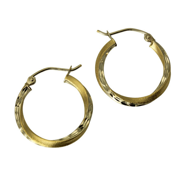 14K Real 2 Tone Yellow White Gold 2.5 mm Thickness Diamond Cut Satin Hinged Hoop Earrings