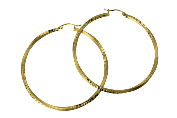 14K Real Yellow Gold 2.5 mm Thickness Diamond Cut Satin Hinged Large Hoop Earrings