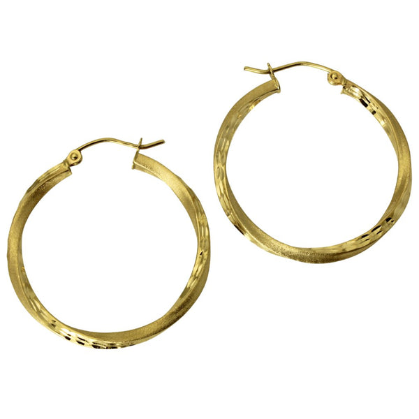 14K Real Yellow Gold 2.5mm Thickness Diamond Cut Satin Hinged Hoop Earrings