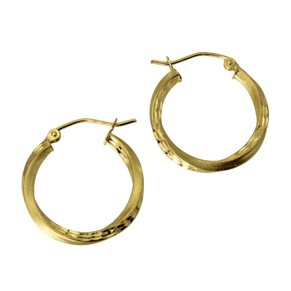 "14K Real Yellow Gold 2.5mm Thickness Diamond Cut Satin Hinged Hoop Earrings 18 mm?? ( 11/16"" )"