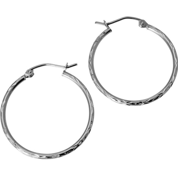 14K Real White Gold 1.5mm Thickness Diamond Cut High Polished Classic Hinged Hoop Earrings