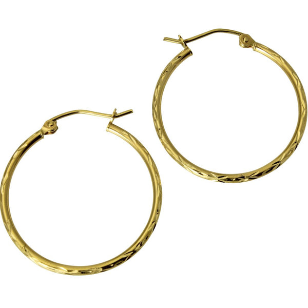 "14K Real Yellow Gold 1.5mm Thickness Polished Classic Hinged Hoop Earrings 22 mm ( 7/8"" )"