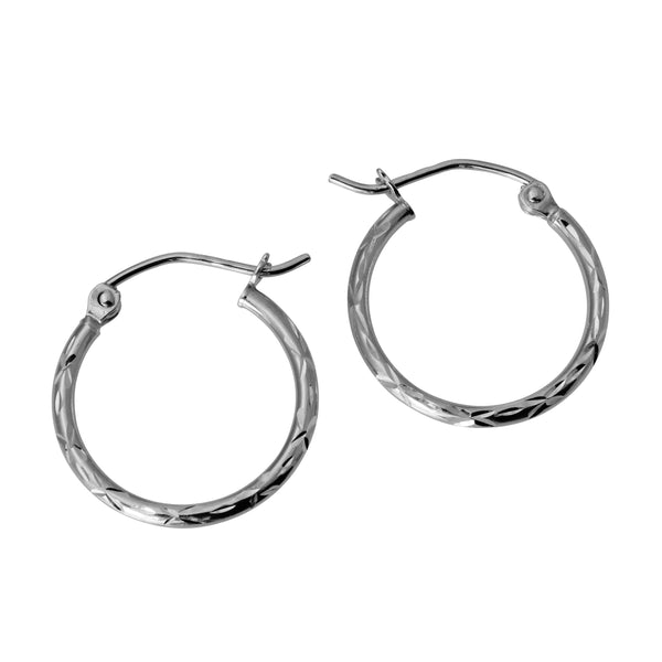 14K Real White Gold 1.5mm Thickness Polished Classic Hinged Small Hoop Earrings