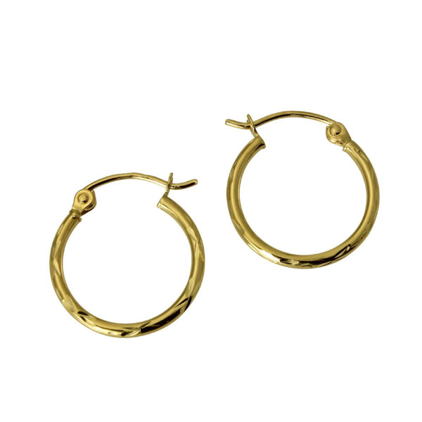 "14K Real Yellow Gold 1.5mm Thickness High Polished Classic Hinged Hoop Small Earrings 12 mm?? ( 1/2"" )"