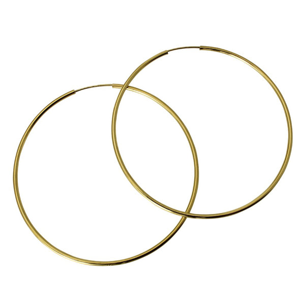"14K Real Yellow Gold 1.5mm Thickness Polished Large Endless Hoop Earrings 57 mm?? ( 2 1/4"" )"