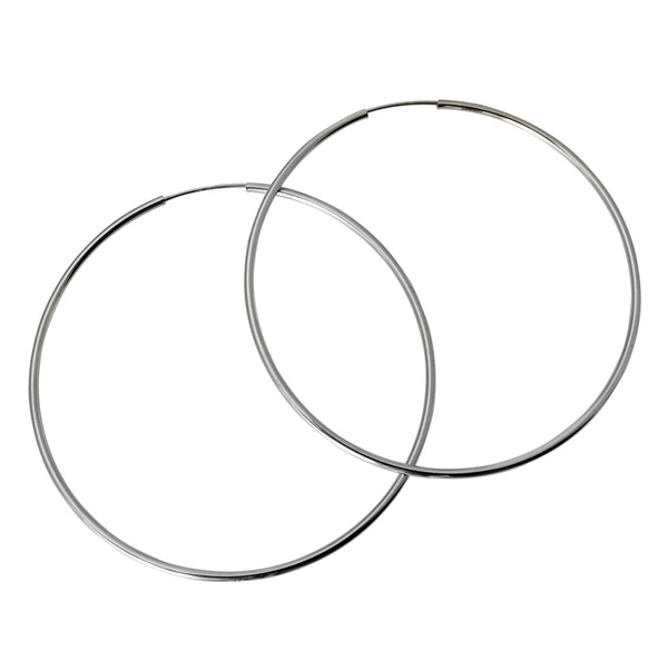 14K Real White Gold 1.5mm Thickness Polished Extra Large Endless Hoop Earrings