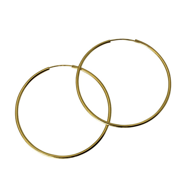 "14K Real Yellow Gold 1.5mm Thickness High Polished Endless Hoop Earrings 45 mm ( 1 3/4"" )"