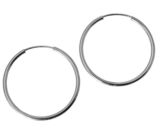 14K Real White Gold 1.5mm Thickness High Polished Endless Hoop Earrings