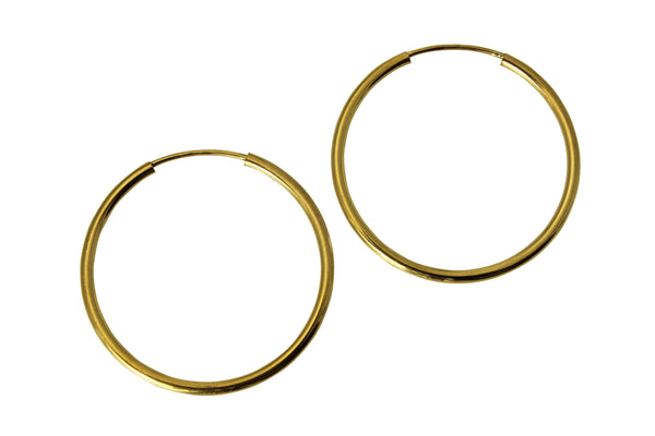 "14K Real Yellow Gold 1.5mm Thickness High Polished Endless Hoop Earrings 25mm ( 1.0"" )"