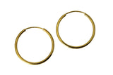 "14K Real Yellow Gold 1.5mm Thickness High Polished Endless Small Hoop Earrings 21 mm?? ( 13/16"" )"