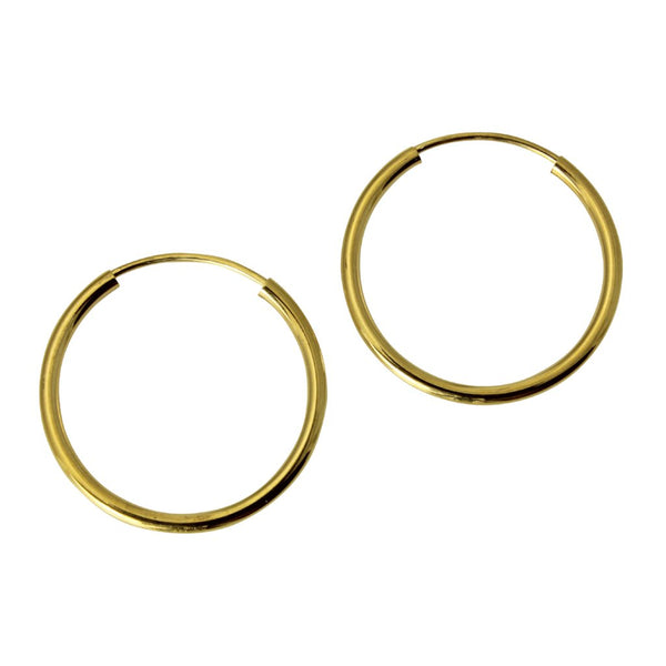 "14K Real Yellow Gold 1.5mm Thickness High Polished Endless Hoop Small Earrings 18 mm?? ( 11/16"" )"