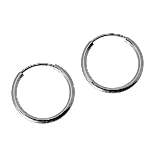 14K Real White Gold 1.5mm Thickness High Polished Endless Hoop Small Earrings