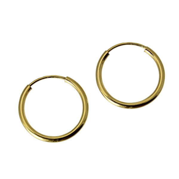 "14K Real Yellow Gold 1.5mm Thickness High Polished Endless Hoop Earrings 15 mm?? ( 9/16"" )"
