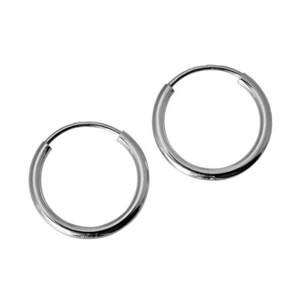14K Real White Gold 1.5mm Thickness High Polished Endless Small Hoop Earrings
