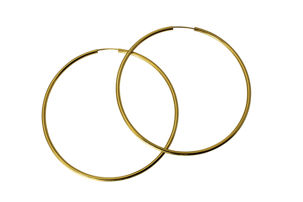 "14K Real Yellow Gold 2mm Polished Extra Large Endless Hoop Earrings 60mm (  2 3/8"" )"