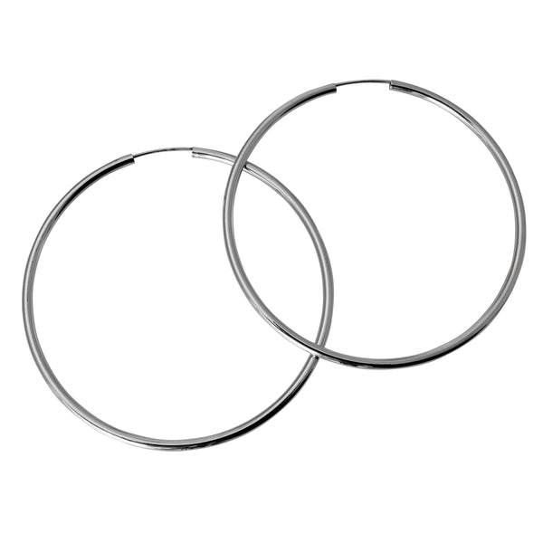 "14K Real White Gold 2mm Thickness High Polished Large Endless Hoop Earrings 52 mm ( 2 1/16"" )"
