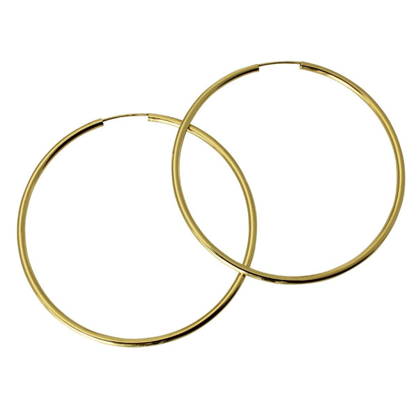"14K Real Yellow Gold 2mm Thickness High Polished Large Endless Hoop Earrings 50mm ( 2"" )"