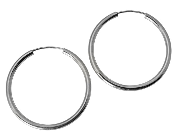 "14K Real White Gold 2mm Thickness Polished Endless Hoop Earrings 27 mm ( 1 1/16"" )"