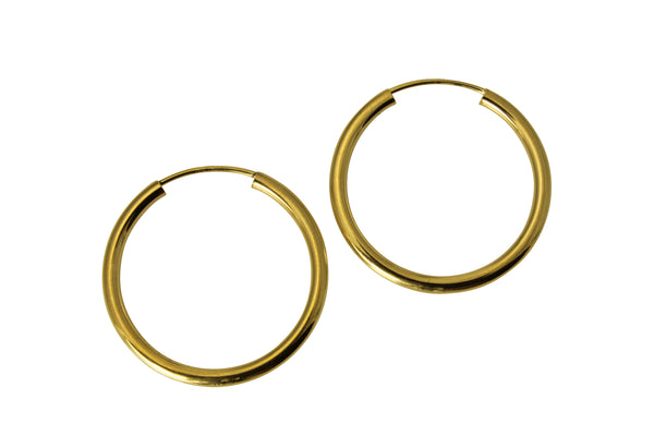 "14K Real Yellow Gold 2mm Thickness Small High Polished Endless Hoop Earrings 22 mm?? ( 7/8"" )"