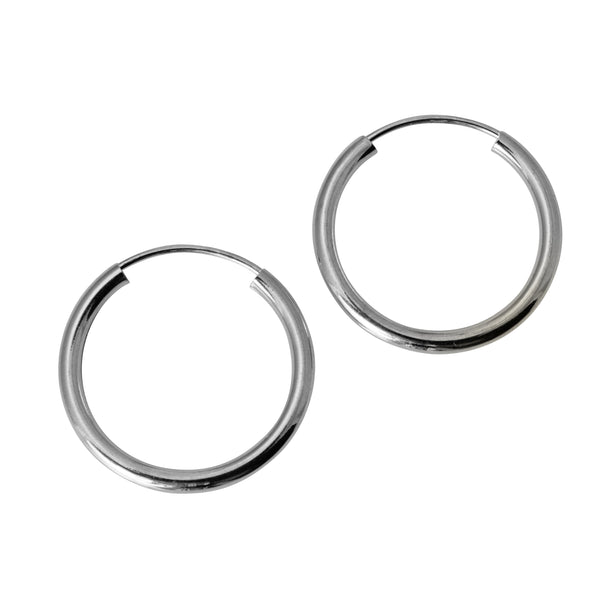 "14K Real White Gold 2mm Thickness High Polished Endless Hoop Earrings 18 mm?? ( 11/16"" )"