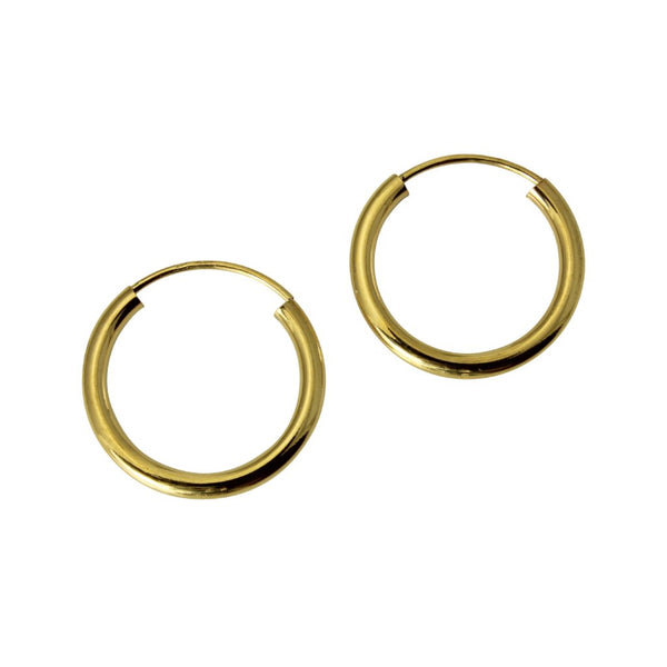 "14K Real Yellow Gold 2mm Thickness High Polished Endless Hoop Earrings 15 mm?? ( 9/16"" )"