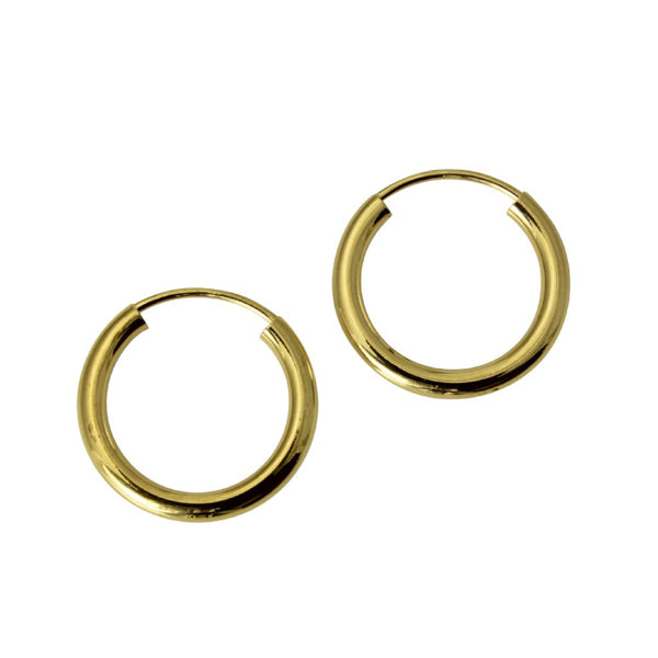 "14K Real Yellow Gold 2mm Thickness Polished Endless Small Hoop Earrings 13mm ( 1/2"" )"