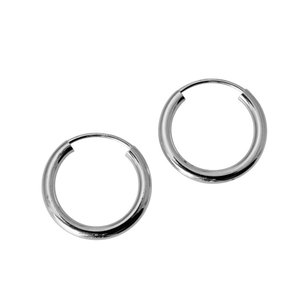 "14K Real White Gold 2mm Thickness High Polished Endless Hoop Small Earrings 13 mm?? ( 1/2"" )"
