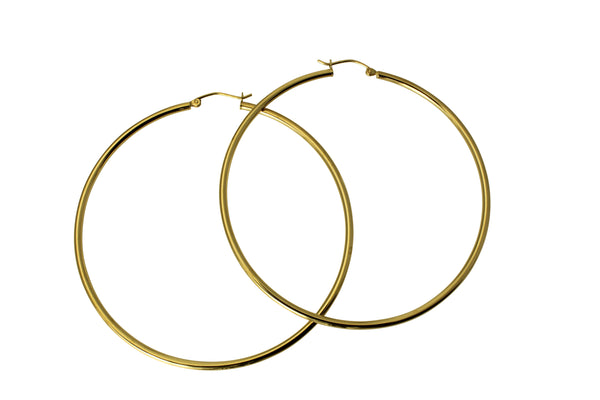 "14K Real Yellow Gold 2mm Thickness Classic Polished Extra Large Hinged Hoop Earrings 62 mm?? ( 2 7/16"" )"