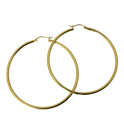 "14K Real Yellow Gold 2mm Thickness Classic Polished Large Hinged Hoop Earrings 52 mm ( 2 1/16"" )"