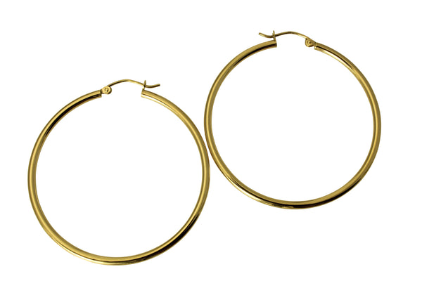 "14K Real Yellow Gold 2mm Thickness Classic High Polished Hinged Hoop Earrings 42 mm?? ( 1 5/8"" )"