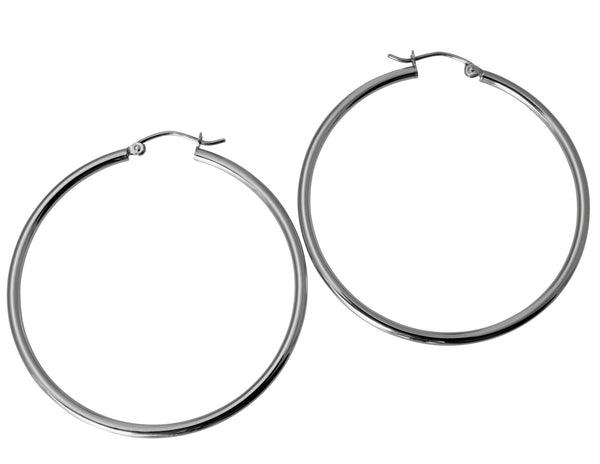 "14K Real White Gold 2mm Thickness Classic Polished Hinged Hoop Earrings 42mm ( 1 5/8"" )"