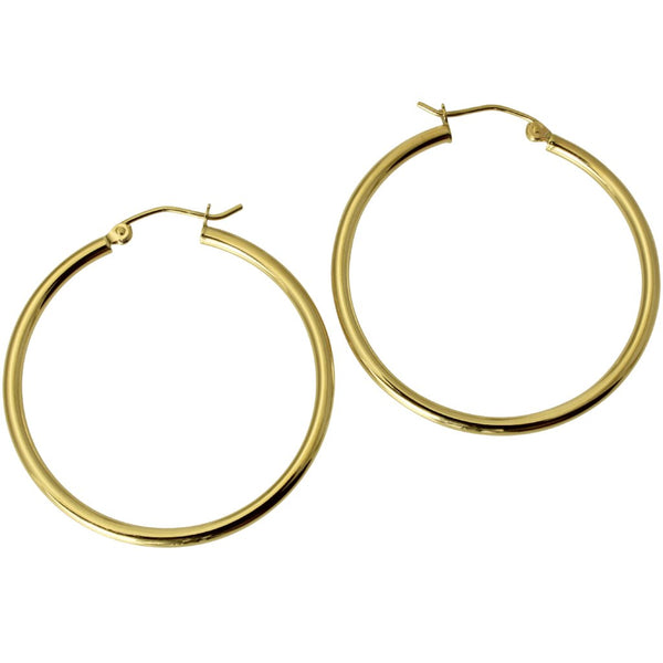 "14K Real Yellow Gold 2mm Thickness Classic High Polished Hinged Hoop Earrings 32 mm?? ( 1 1/4"" )"