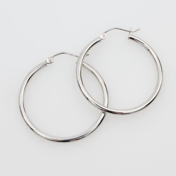 "14K Real White Gold 2mm Thickness Classic High Polished Hinged Hoop Earrings 27 mm?? ( 1 1/16"" )"