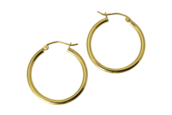"14K Real Yellow Gold 2mm Thickness Classic High Polished Hinged Small Hoop Earrings 22 mm?? ( 7/8"" )"