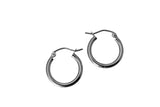 "14K Real White Gold 2mm Thickness Classic Polished Hinged Small Hoop Earrings 15 mm ( 9/16"" )"