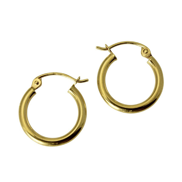 "14K Real Yellow Gold 2mm Thickness Classic High Polished Hinged Hoop Small Earrings 13 mm?? ( 1/2"" )"