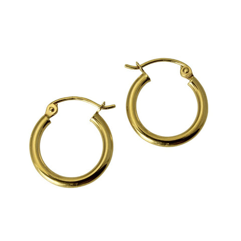 "14K Real Yellow Gold 2mm Thickness Small Classic Polished Hinged Hoop Earrings 11mm ( 7/16"" )"