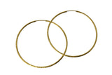 "14K Real Yellow Gold 1.5mm Thickness Diamond Cut Satin Polished Endless Hoop Large Earrings 52 mm?? ( 2 1/16"" )"