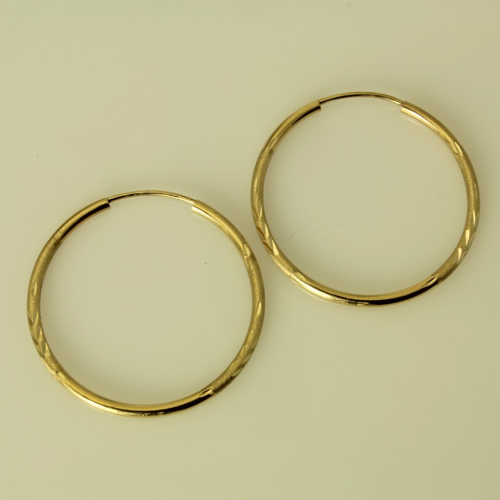 14K Real Yellow Gold 1.5mm Thick Small Diamond Cut Satin Endless Hoop Earrings
