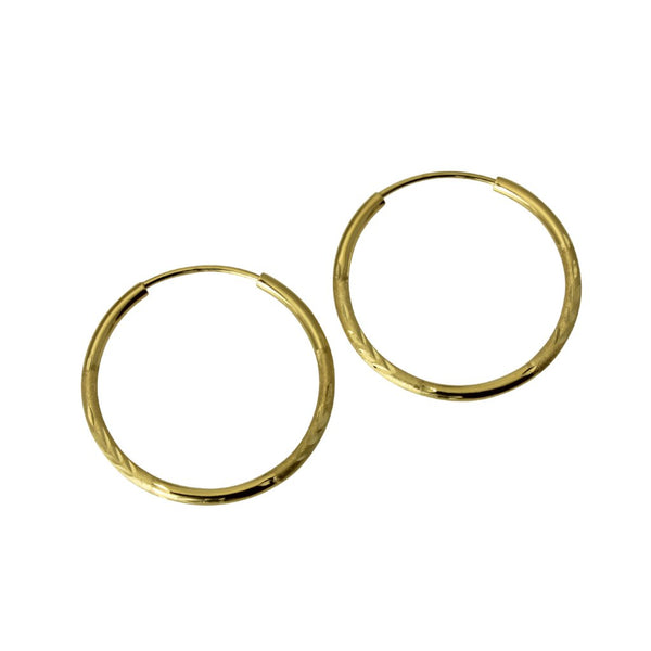 "14K Real Yellow Gold 1.5mm Thickness Diamond Cut Satin Polished Endless Hoop Earrings 21 mm?? ( 13/16"" )"