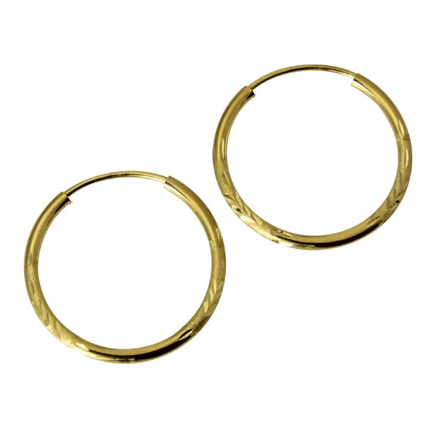 "14K Real Yellow Gold 1.5mm Thickness Small Diamond Cut Satin Endless Hoop Earrings 18 mm?? ( 11/16"" )"
