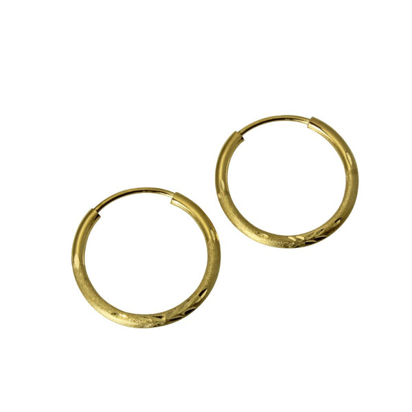 "14K Real Yellow Gold 1.5mm Thickness Diamond Cut Satin Polished Endless Hoop Small Earrings 15 mm ( 9/16"" )"