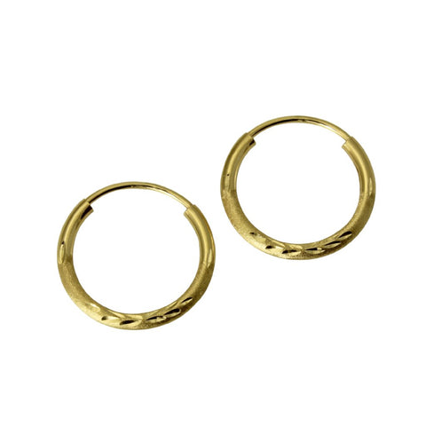 "14K Real Yellow Gold 1.5mm Thickness Diamond Cut Satin Endless Small Hoop Earrings 12 mm?? ( 1/2"" )"
